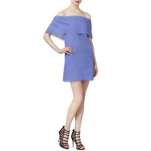 Dusty Blue Off-The-Shoulder Eyelet Mini Dress